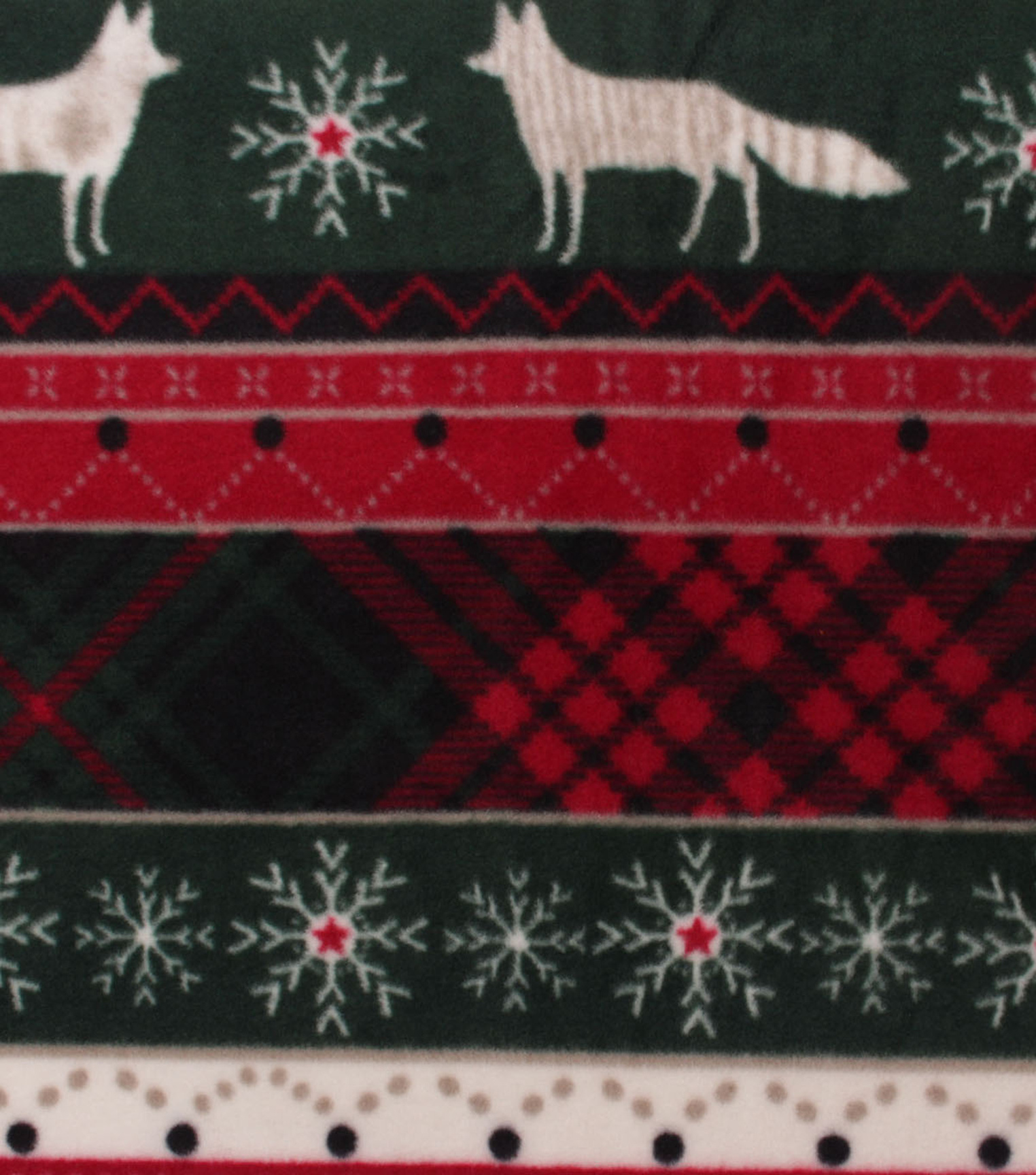 Anti-Pill Plush Fleece Fabric-Woodland Stripe With Plaid Holiday