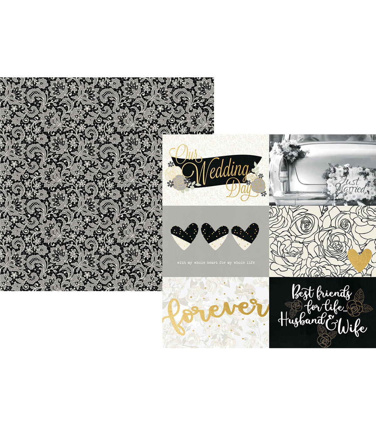 Simple Stories Always & Forever Cardstock with Horizontal Elements