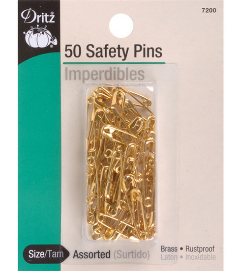 Dritz Brass Safety Pins-Size 00/0 3/4\u0022-7/8\u0022