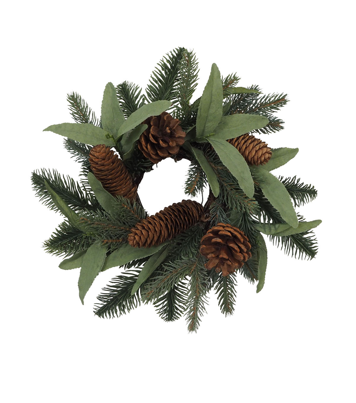 Blooming Holiday Christmas Olive Leaf & Pinecone Mini Wreath