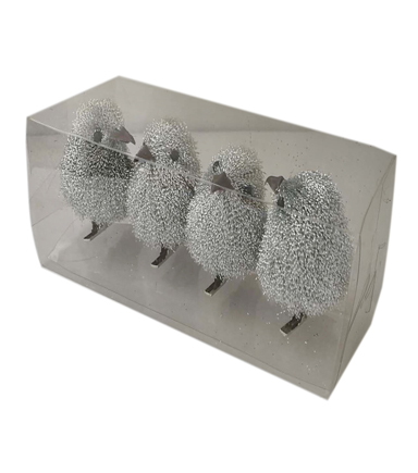 Blooming Holiday 4 pk Birds-Silver