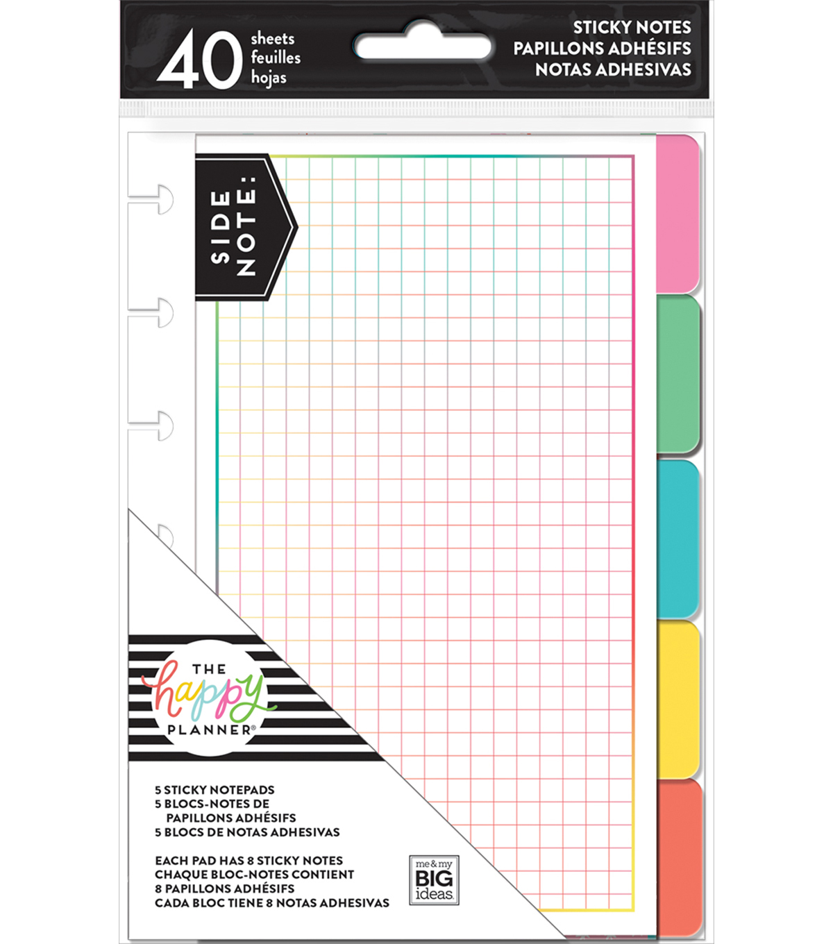 The Happy Planner 5 Sticky Notepads-Brights