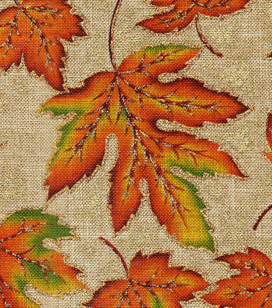 Harvest Linen Fabric 58\u0022-Linen Look Leaves Metallic