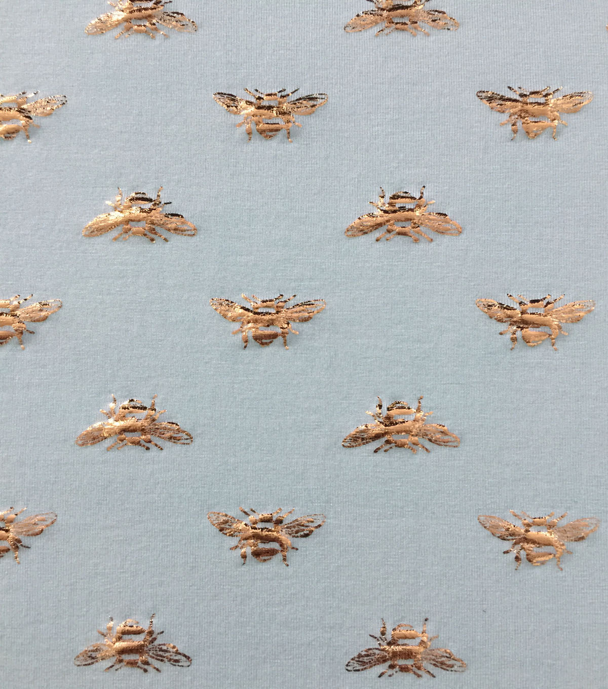 Rayon & Spandex Printed Knit Fabric-Gold Foiled Bees on Mint