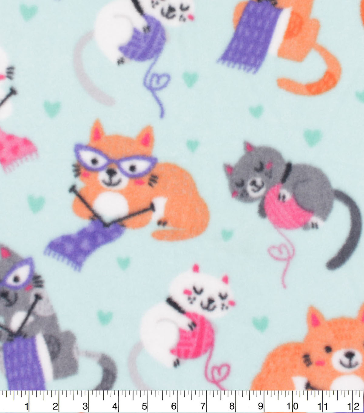 Anti-Pill Plush Fleece Fabric-Knitting Kitties