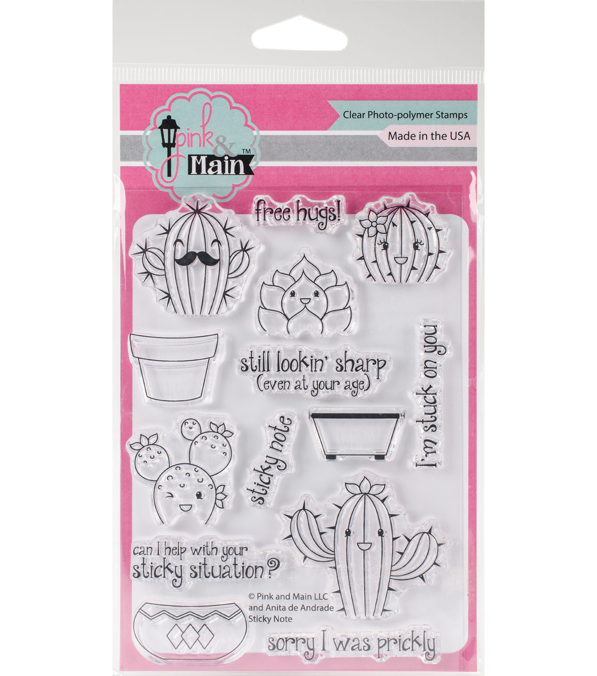 Pink & Main 14 pk Clear Stamps-Sticky Note