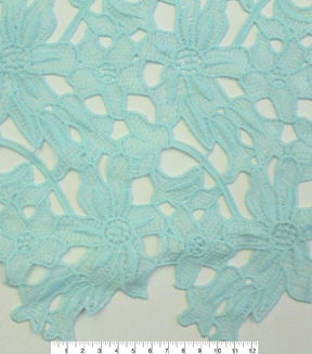Spring Sheen Cutwork Lace Fabric -Mint Floral