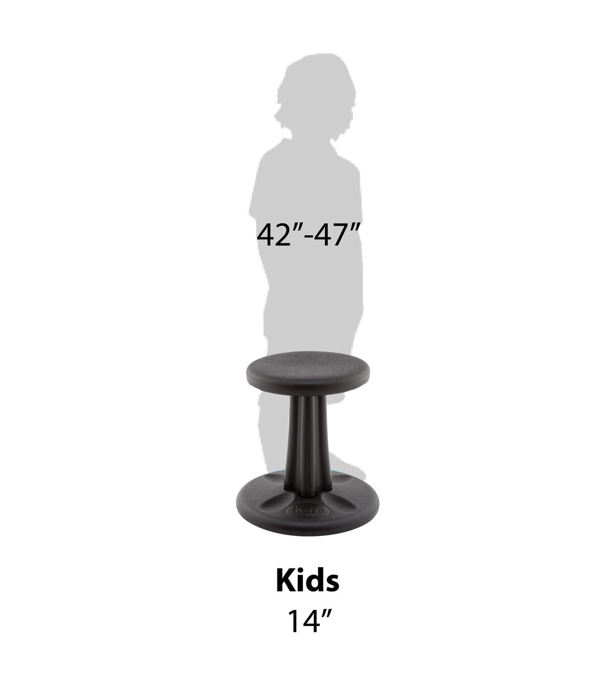 Kore Kids Wobble Chair, 14\u0022, Black