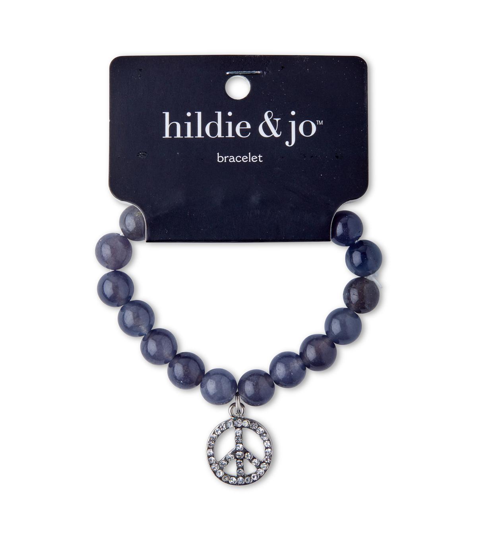 Hil Jo Beads Stretch Bracelet Gray With Silver Peace Charm