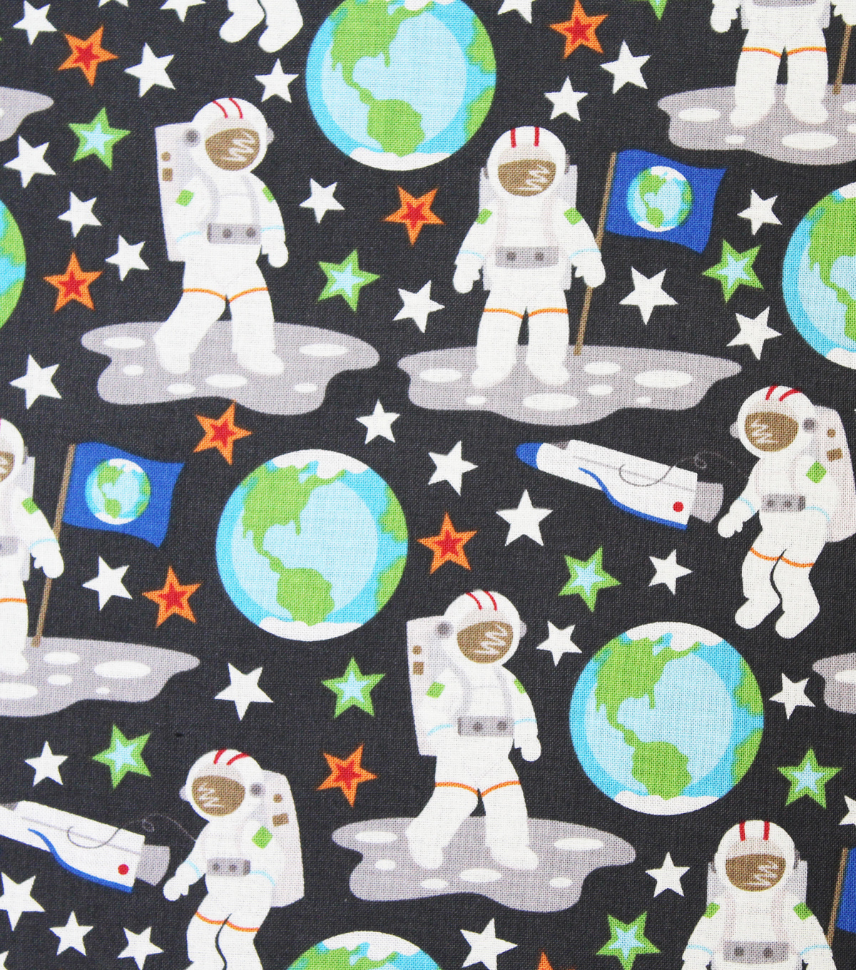 Novelty Cotton Fabric 44\u0022-Glow In The Dark Astronaut