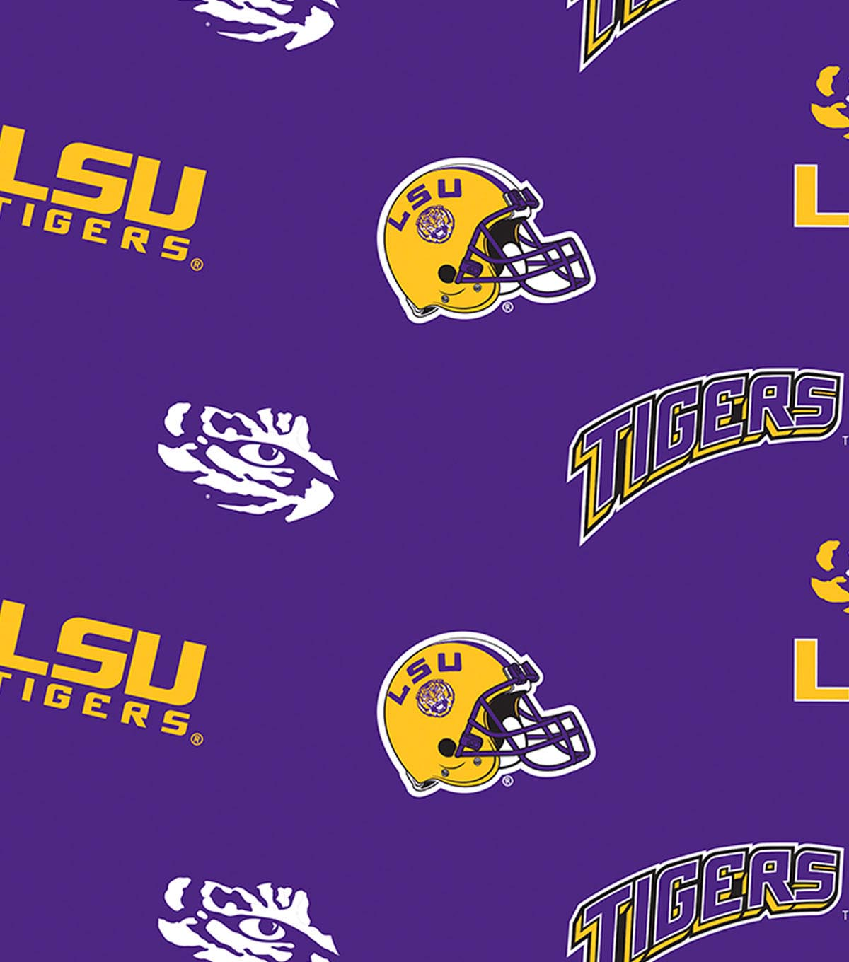 Louisiana State University Tigers Fleece Fabric -All Over