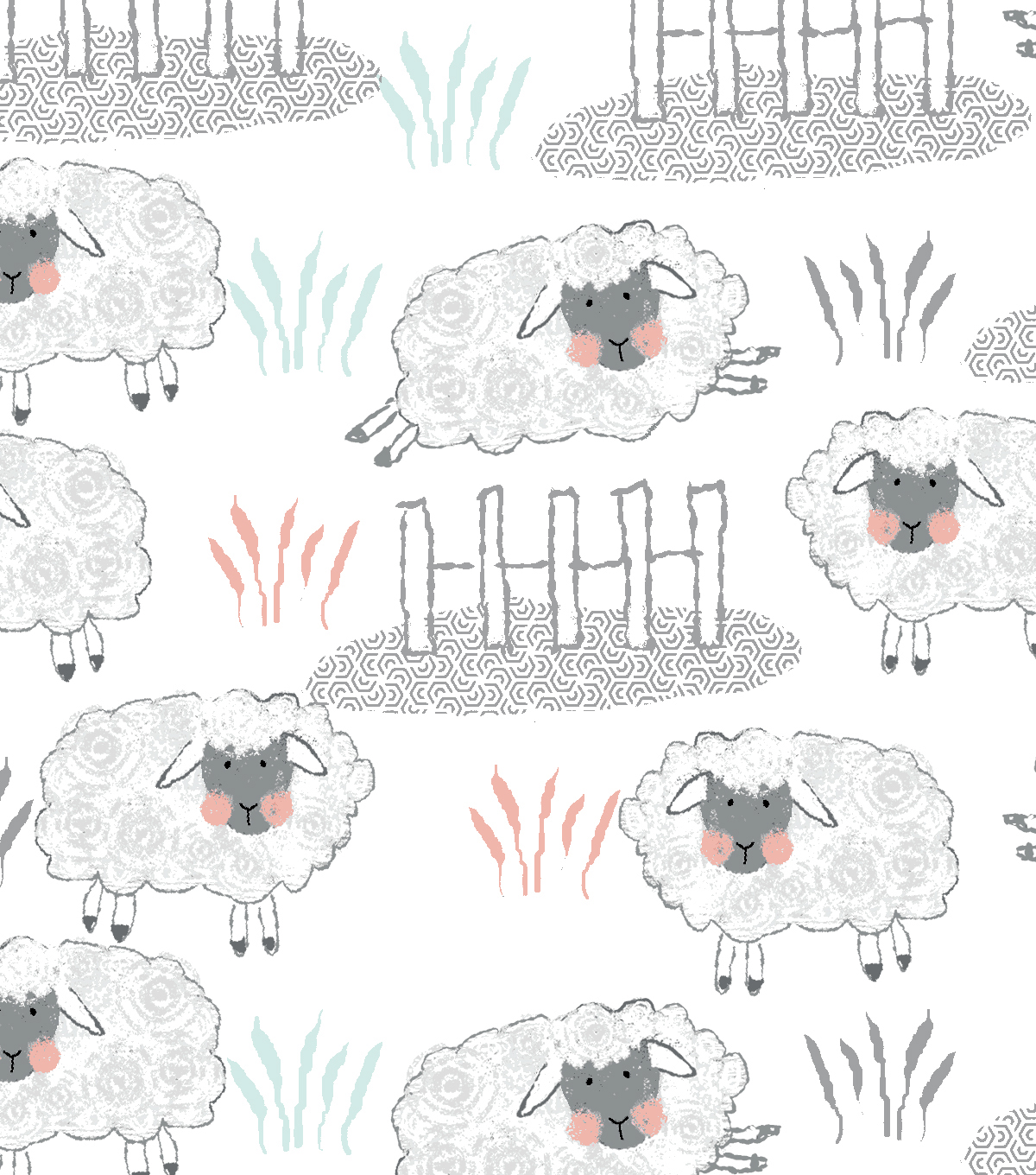 Nursery Flannel Fabric-Whimsy Sheep