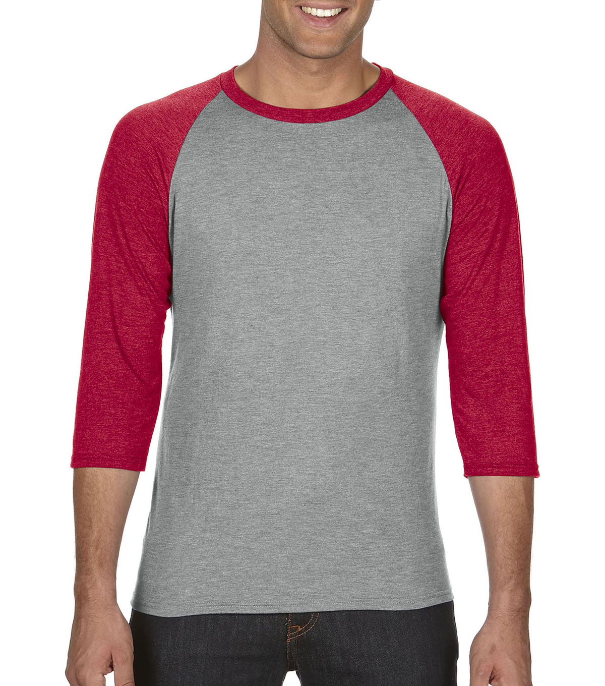 Anvil Extra Large Adult Raglan Shirt, Grey/red