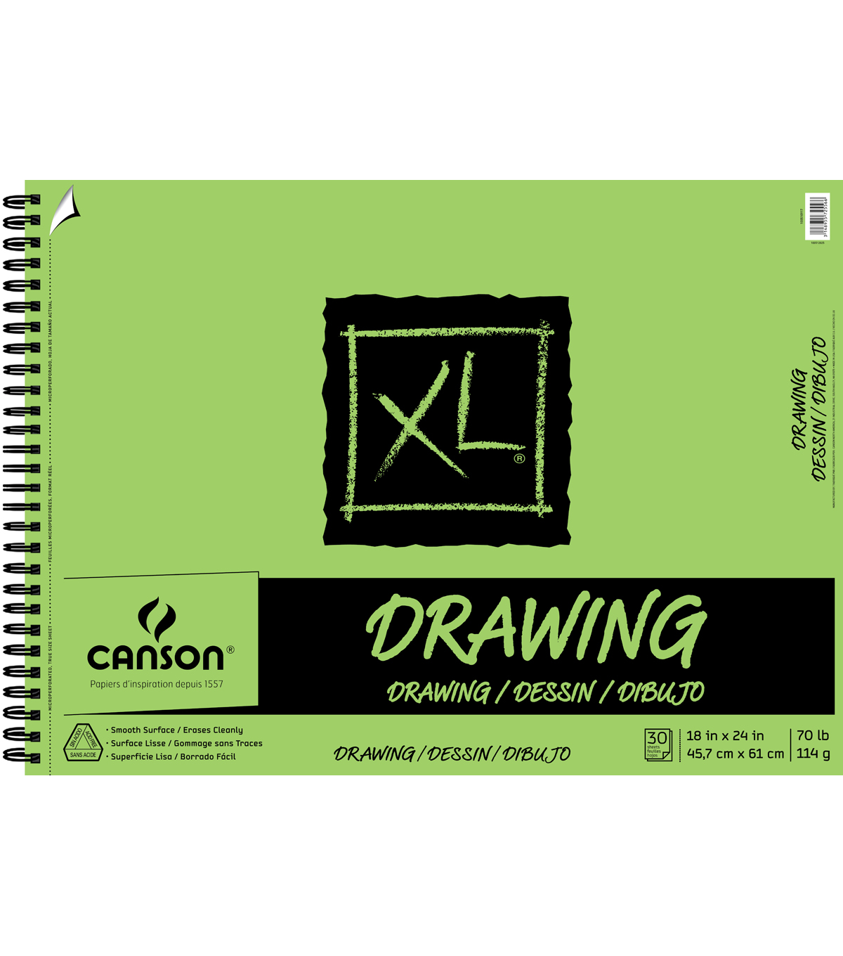 Canson XL 18\u0027\u0027x24\u0027\u0027 30 Sheets Spiral Drawing Pad