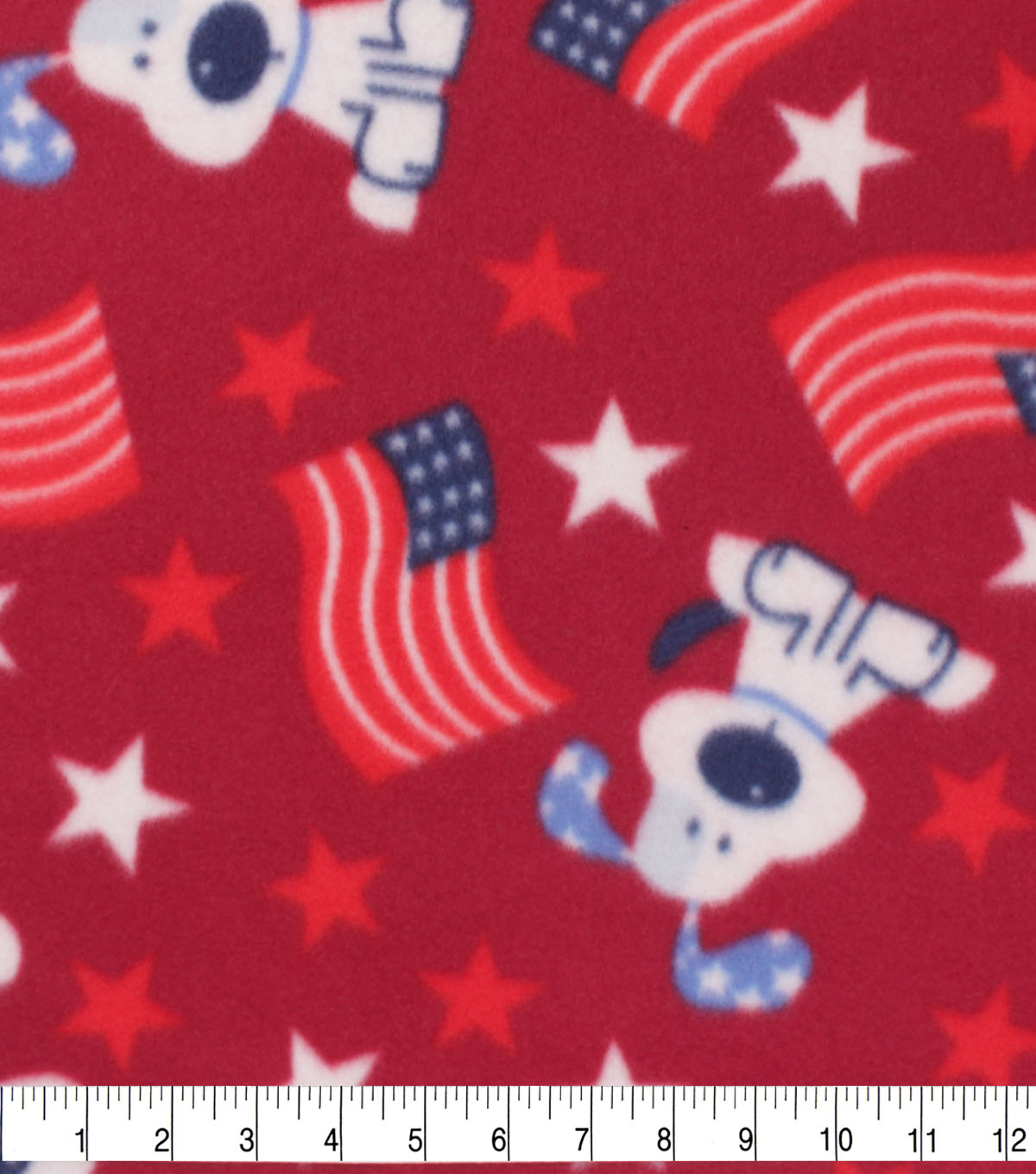 Patriotic Blizzard Fleece Fabric-Doggies