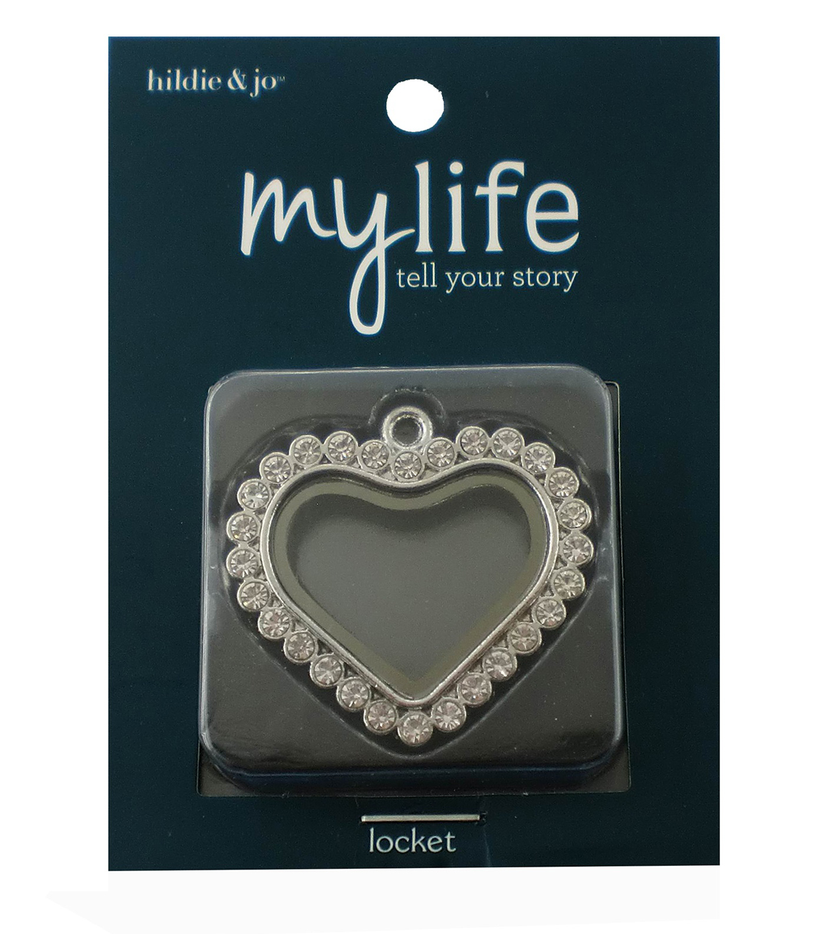 hildie & jo My Life Heart Dot Silver Locket-Clear Crystal & Glass