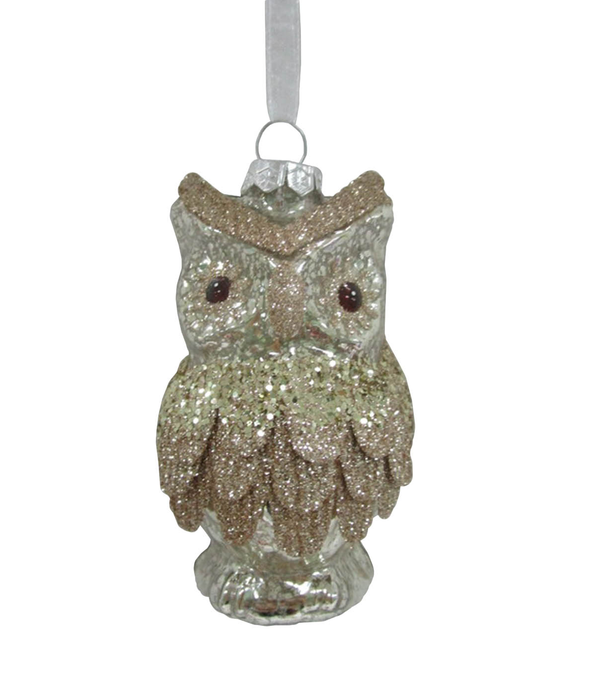 Maker\u0027s Holiday Christmas Glistening Pines Glass Owl Ornament