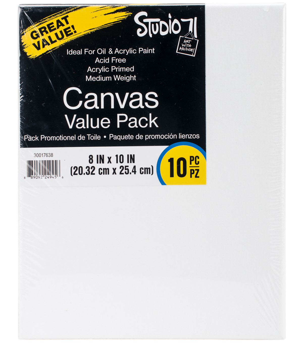 Studio 71 Stretched Canvas Value Pack 10 Pack 8\u0022X10\u0022