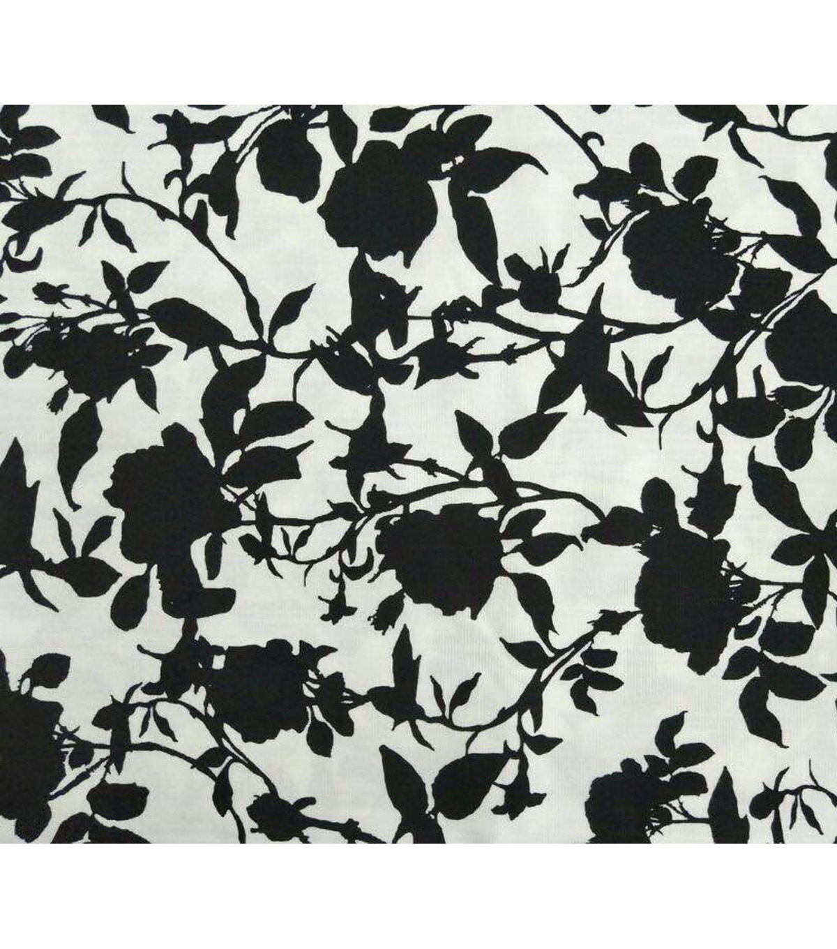 Amaretto Linen Fabric -Black Flowers on White
