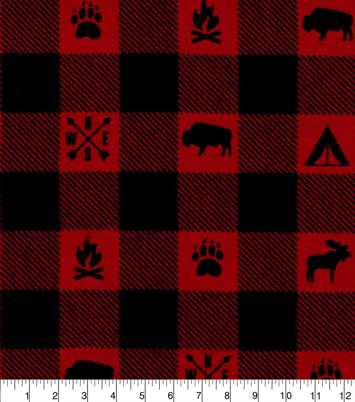 Snuggle Flannel Fabric-Camping Red Black Buffalo Check