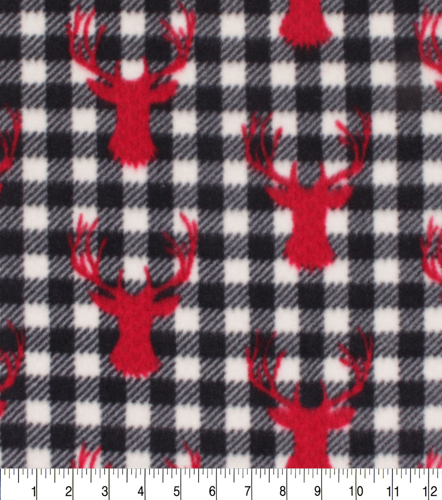 Anti-Pill Plush Fleece Fabric-Red Stag Heads on Black & White Checks