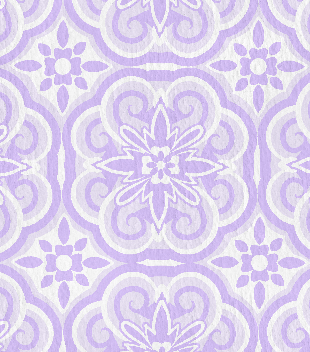 Nursery Flannel Fabric -Floral Medallion Lush Lavender