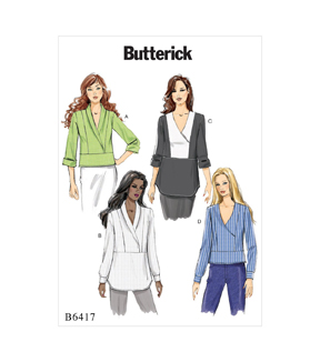 Butterick Pattern B6417 Misses\u0027 Surplice, Paneled Tops-Size 14-22