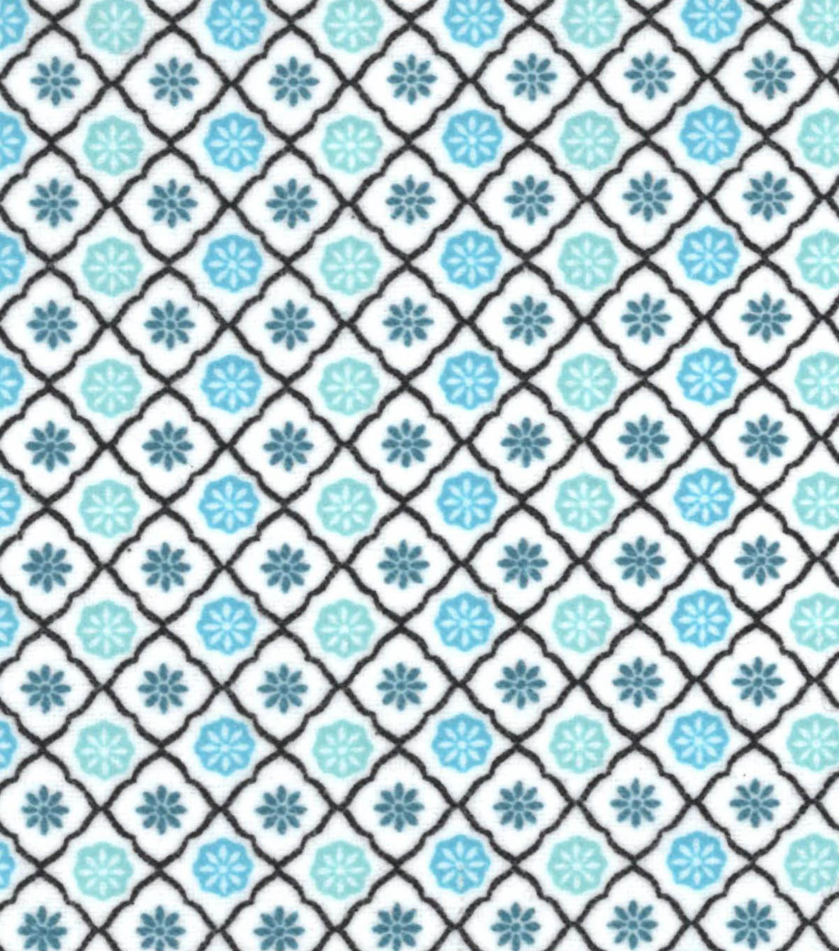 Snuggle Flannel Fabric -Peacock Trellis Geo