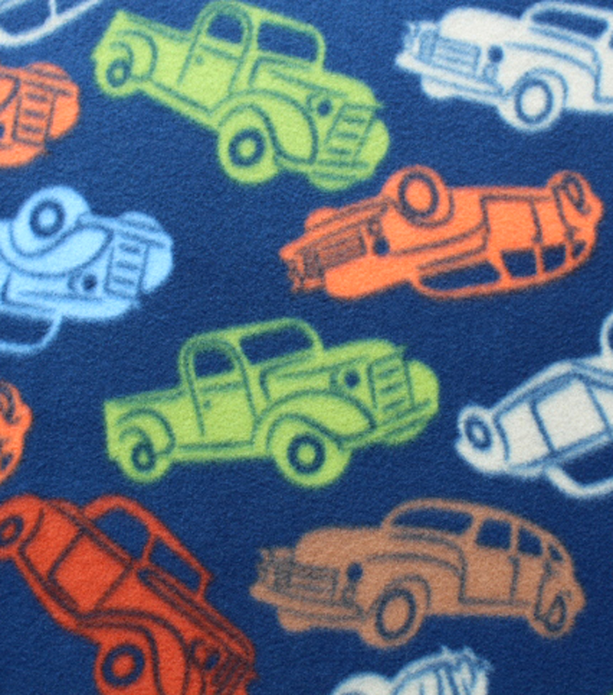 Blizzard Fleece Fabric - Tossed Classic Cars