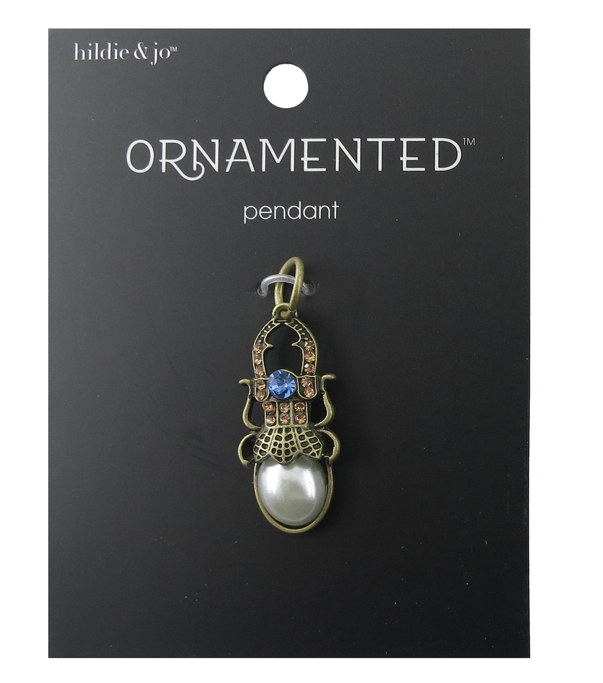 hildie & jo Ornamented Bug Antique Gold Pendant-Pearl & Crystals