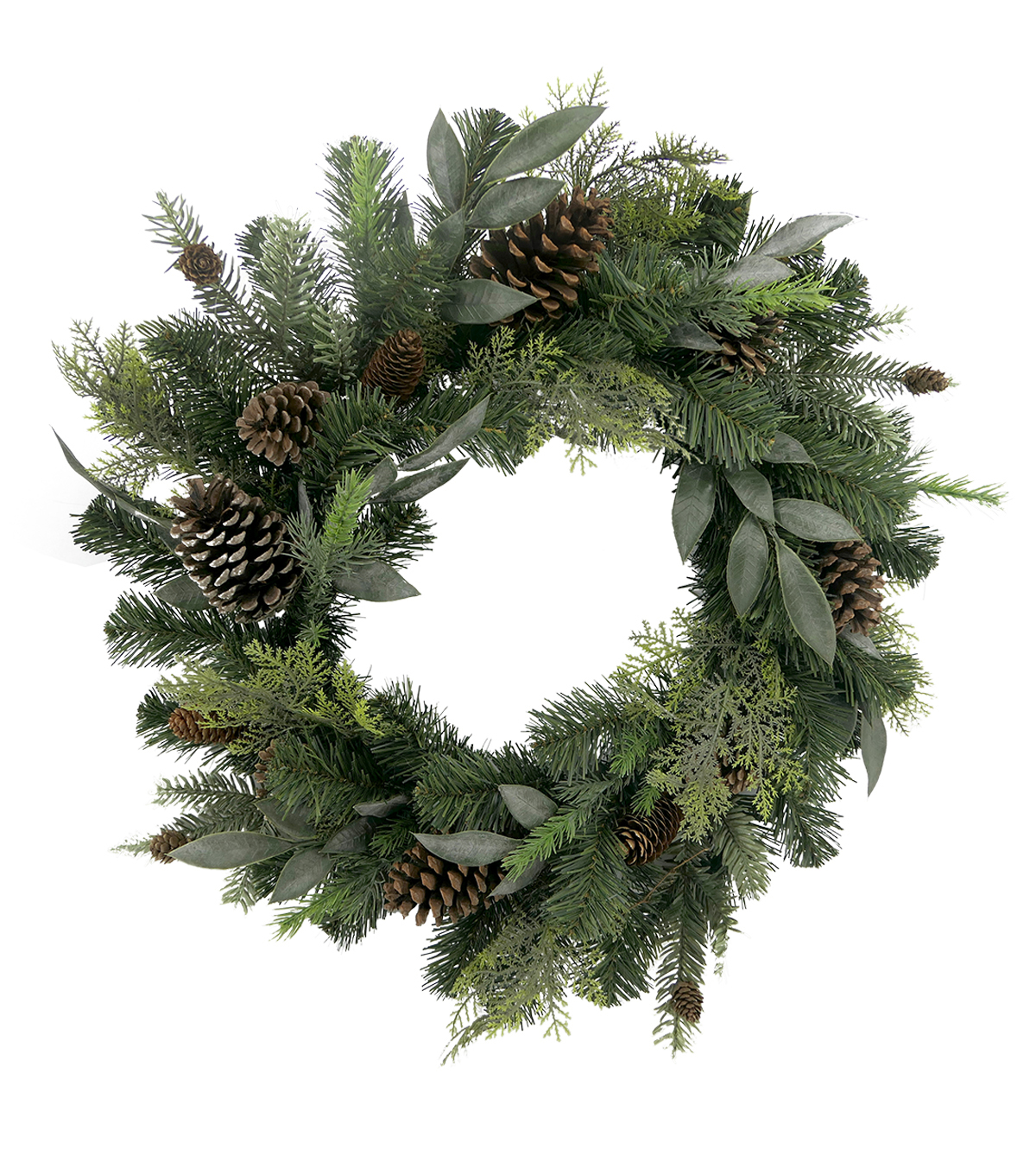 Handmade Holiday Christmas Greenery & Pinecone Mixed Wreath
