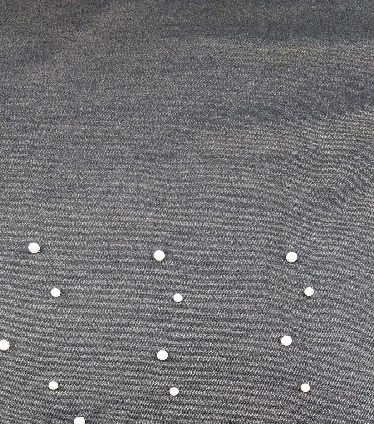 Denim Dark Indigo Pearl Trim Stretch Fabric 52\u0022