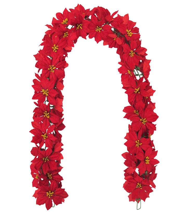 Blooming Holiday Christmas 5\u0027\u0027x66\u0027\u0027 Poinsettia Chain Garland-Red