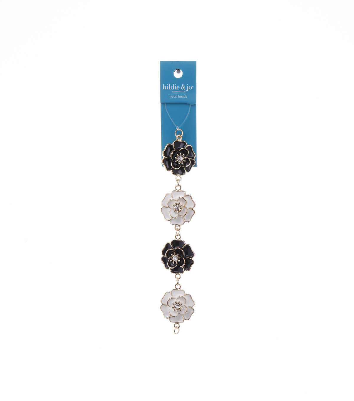 Bliss Beads Black & White Metal Flower Connectors