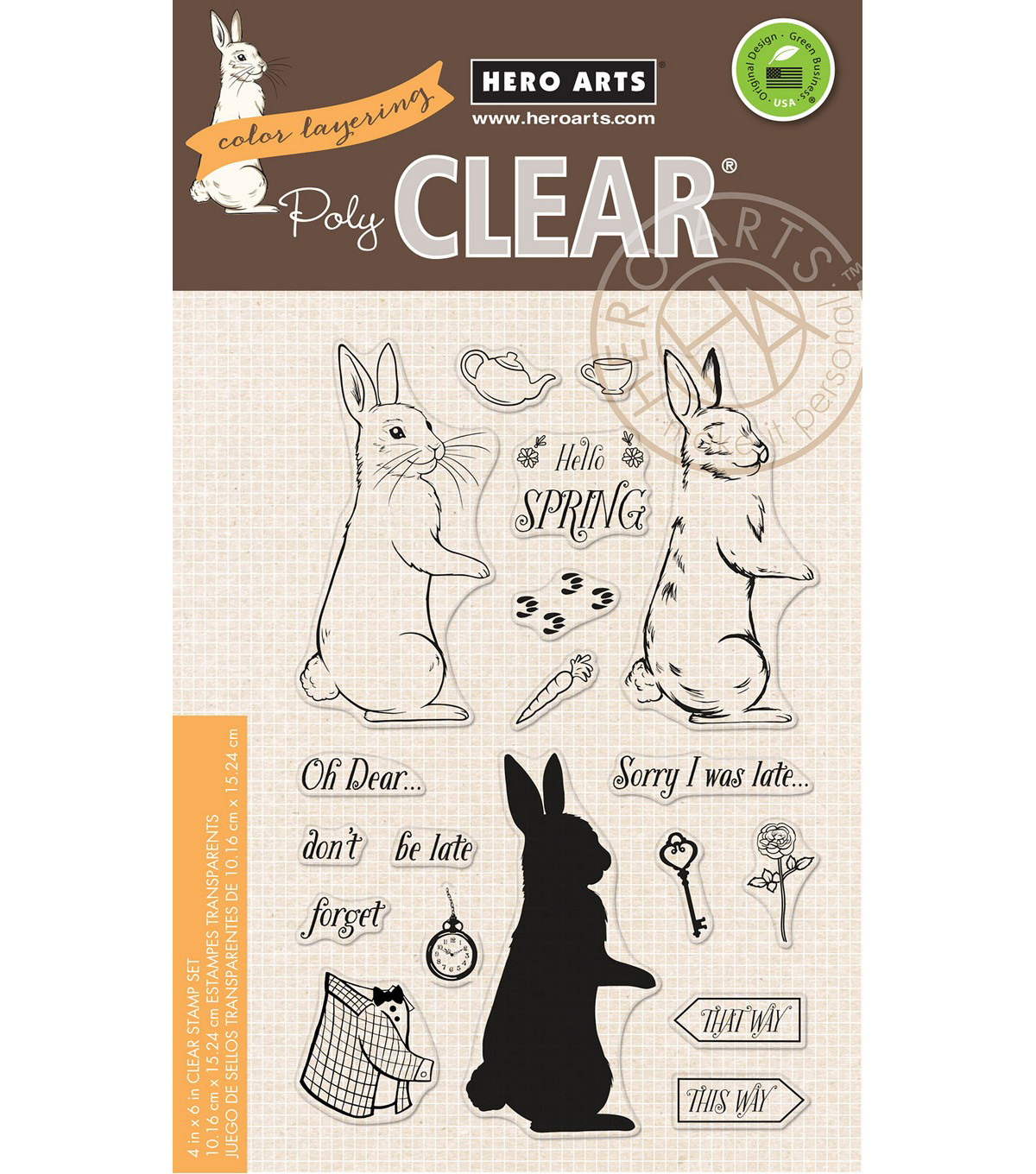 Hero Arts 19 pk Color Layering Clear Stamps-Rabbit