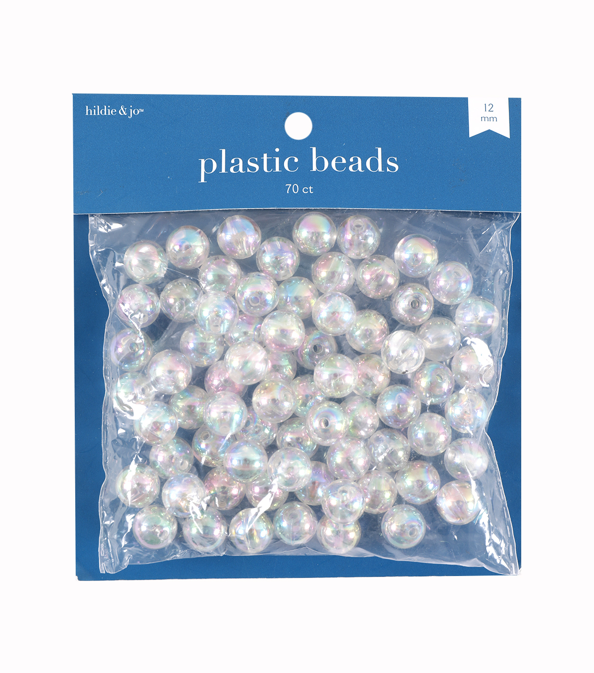 12mm Acrylic Crystal AB Beads, 72 Beads