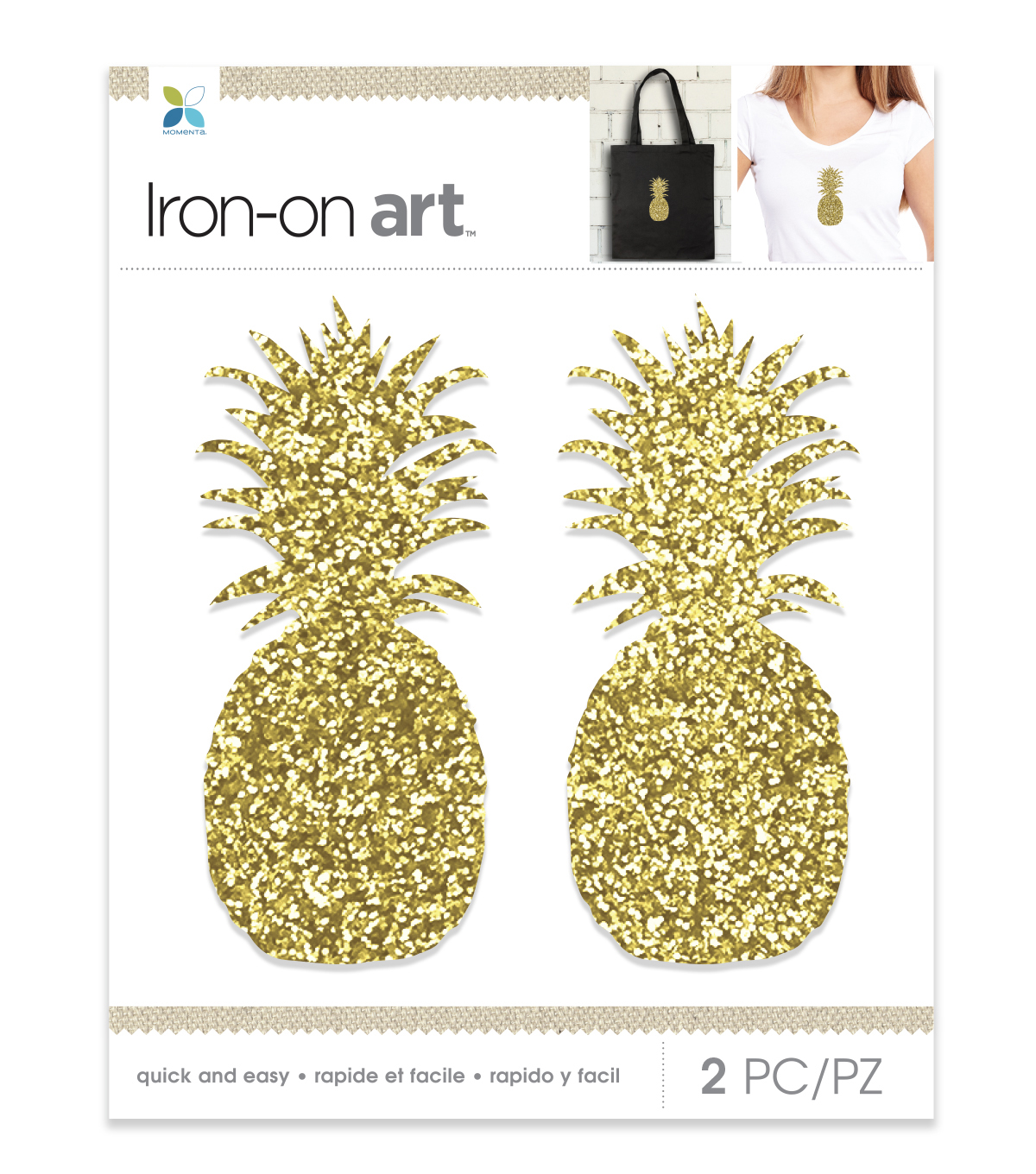 Momenta 2 pk Pineapples Chunky Glitter Iron-on Art-Gold