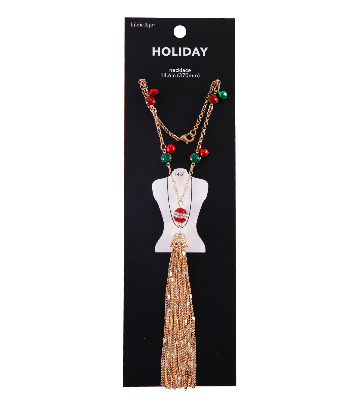 hildie & jo Christmas 14.6\u0027\u0027 Tassel Gold Necklace-Rhinestones & Bells
