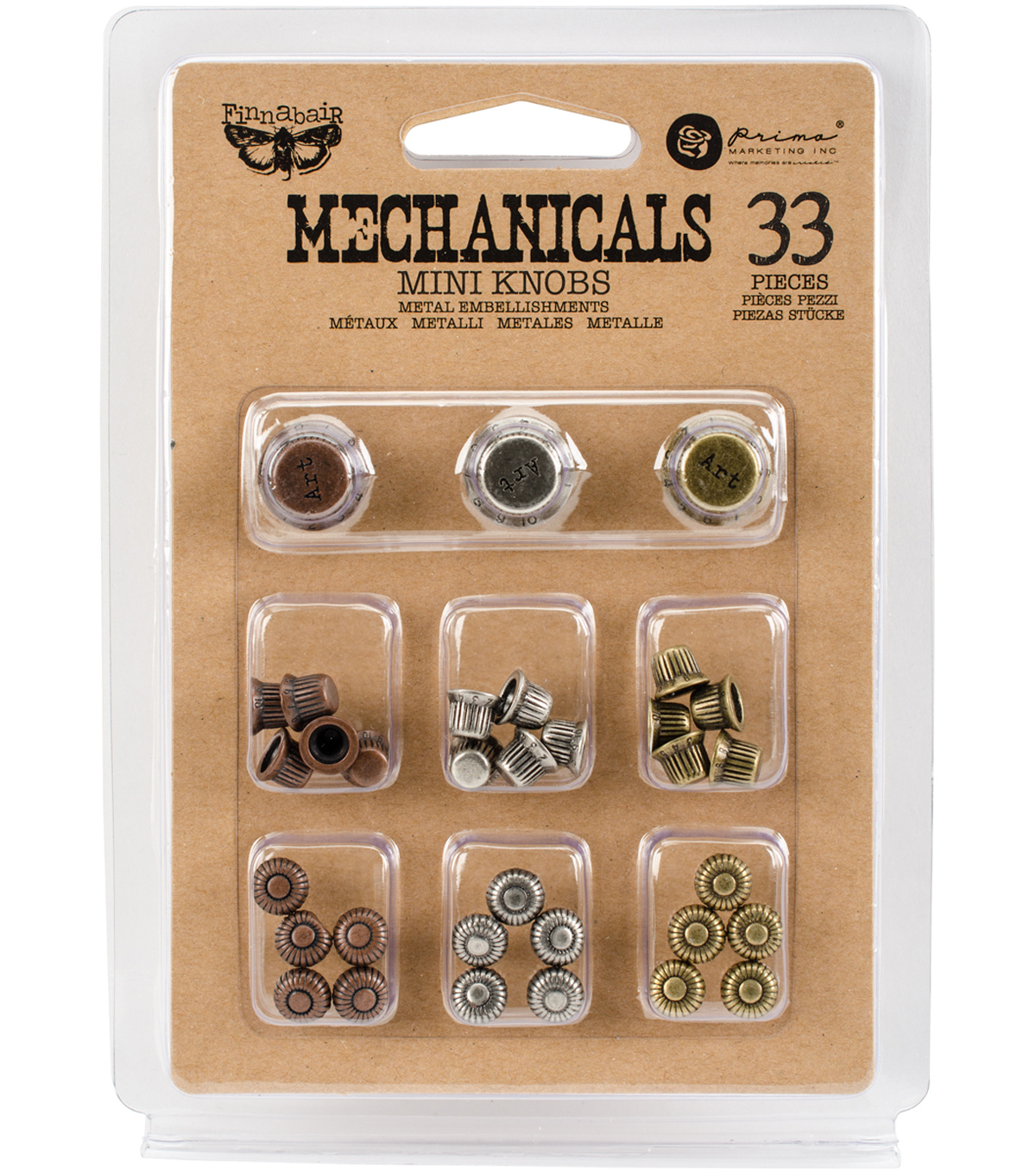 Prima Marketing Finnabair Mechanicals 33 pk Metal Mini Knobs