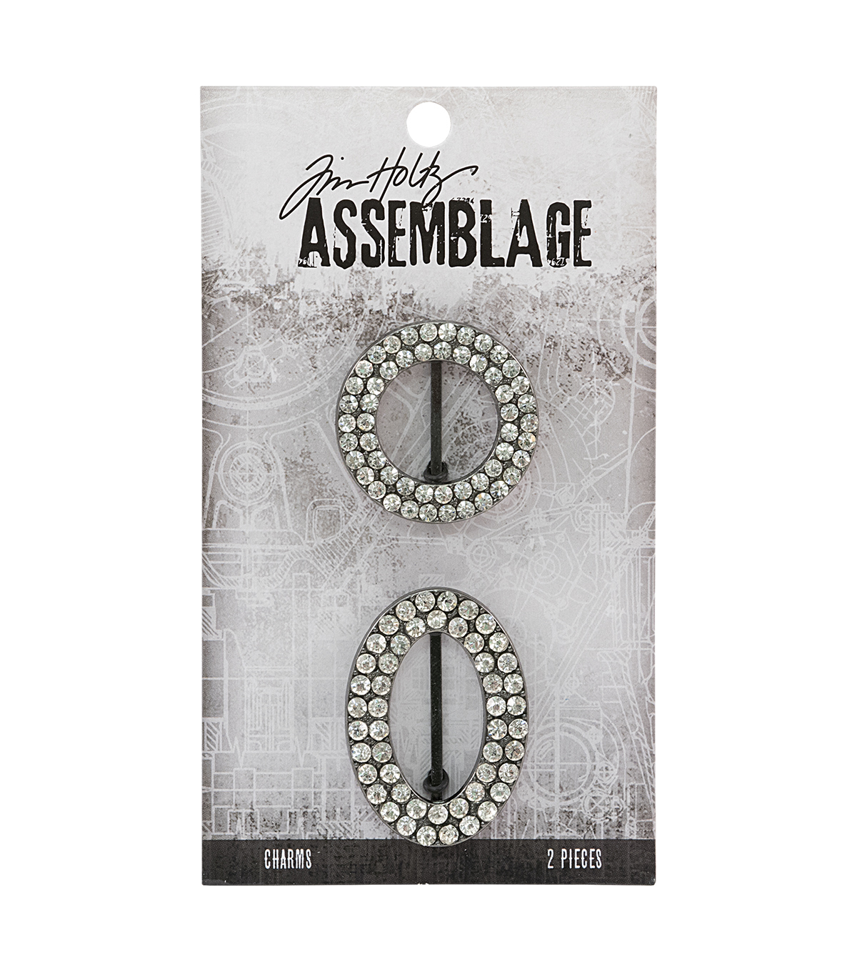Tim Holtz Assemblage 2 Pack Round & Oval Crystal Frame Charms