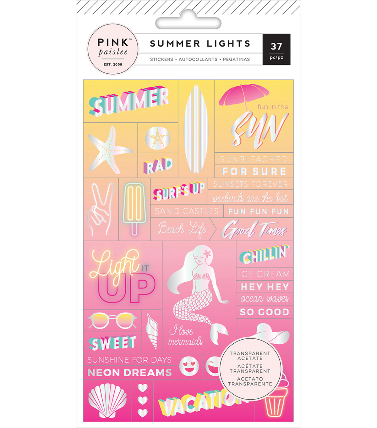 Summer Lights Acetate Stickers-Word Jumble W/Holographic Foil