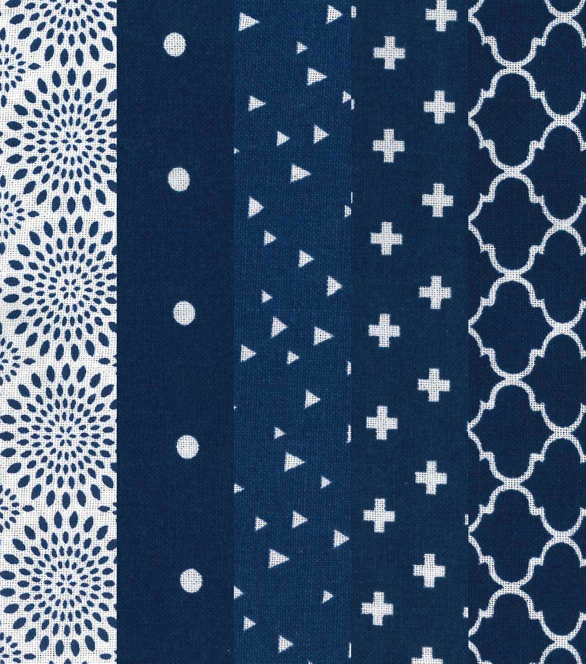 Fat Quarter Bundle Cotton Fabric 5-Pieces 18\u0027\u0027-Floral on Navy