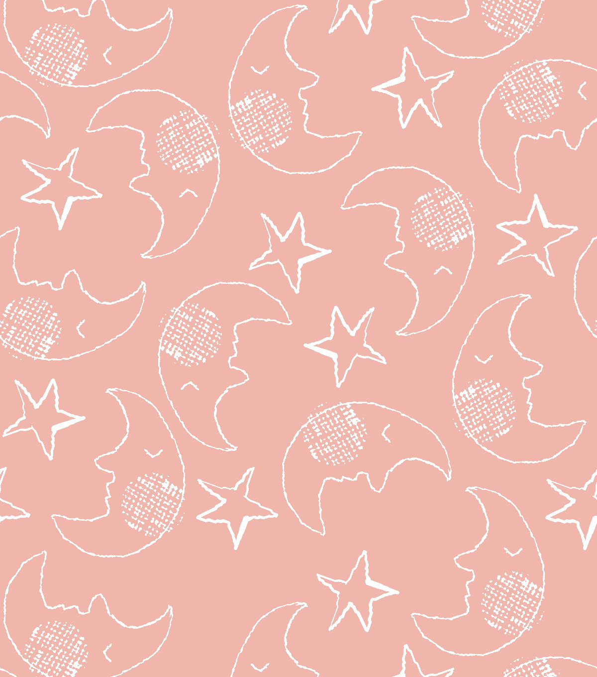 Nursery Flannel Fabric-Whimsy Moons on Coral