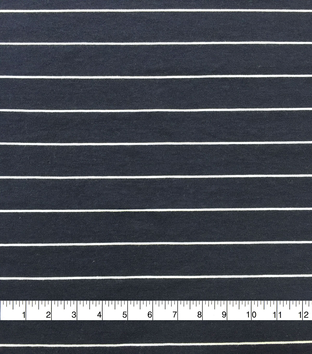Doodles Cotton & Spandex Interlock Fabric-Navy & White Stripes