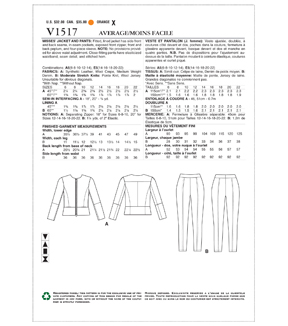 Vogue Pattern V1517 Misses\u0027 Jacket & Pull-On Pants-Size 6-8-10-12-14