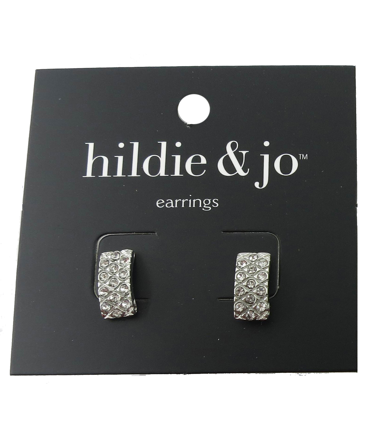 hildie & jo 0.5\u0027\u0027x0.25\u0027\u0027 Rectangle Silver Earrings-Crystals