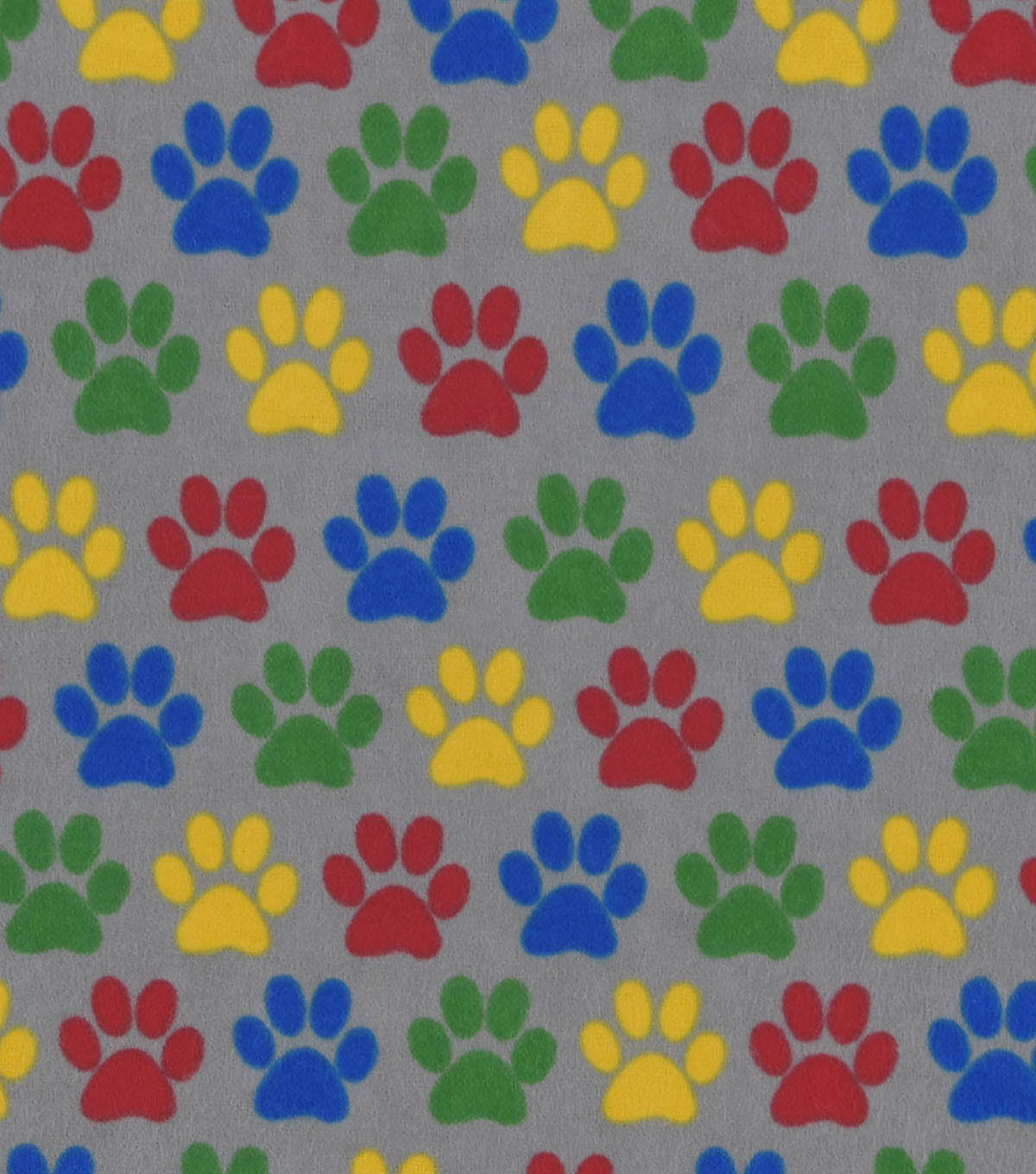 Snuggle Flannel Fabric -Bright Paw Prints