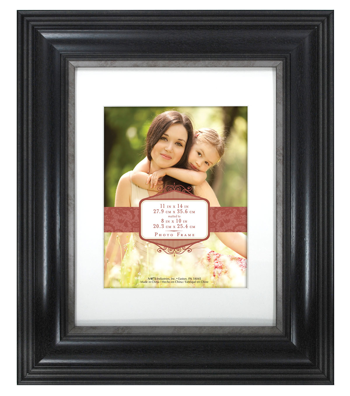 Wall Frame11X14 To 8X10-Wide Elegance Black Pewter