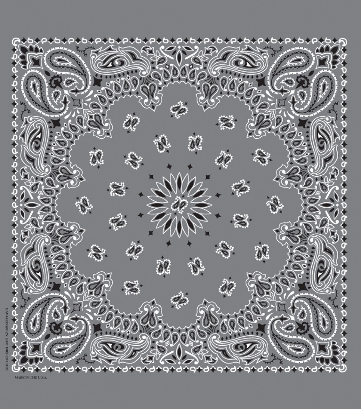 Cotton Bandanna 21\u0027\u0027x21\u0027\u0027-Paisley on Charcoal