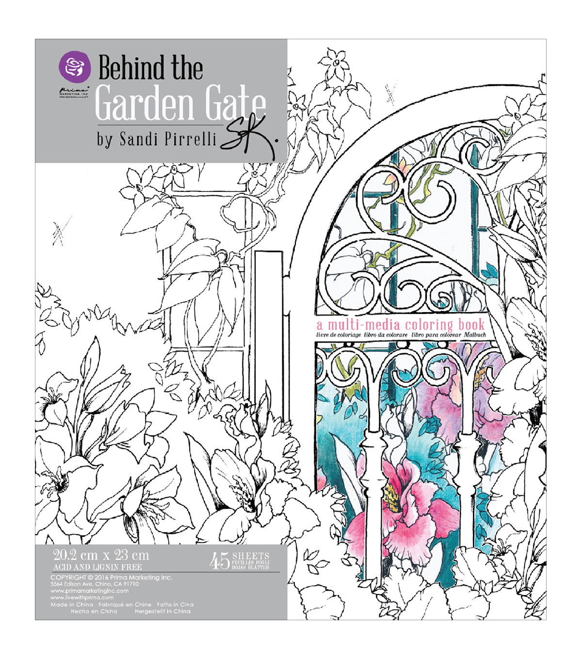 Prima Coloring Book-Behind The Garden Gate, 45 Sheets